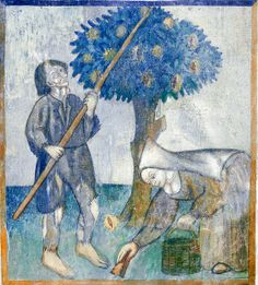 The Labours of the Months, Santa Maria, Mesocco, Tessin, CH. October - Harvesting the eatable chestnuts