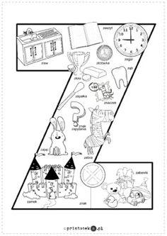Kolorowanka Z - Printoteka.pl Hand Lettering, Food Meme, Told You So, Letters, Teaching, Education, Basket, Number, Pictures