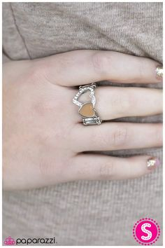 I've HEART It All Before  Glazed in the soothing neutral Pantone® of Iced Coffee, a solid heart joins a heart silhouette embellished in white rhinestones for a romantic display.  Sold as one individual ring.