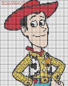 Woody Toy Story x-stitch Disney Cross Stitch Patterns, Cross Stitch Designs, Hello Kitty Crafts, Stitch Disney, Stitch Toy, Pixel Art Templates, Stitch Cartoon, Pixel Pattern, Toy Story Birthday