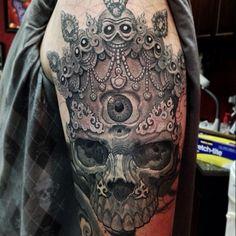 Skull - amazing detail #tattoo