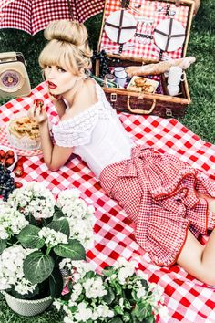 hair makeup everything for short/vintage lace wedding More picnics. With red gingham. Insta-happy.
