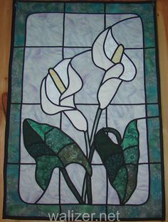 stained glass flowers patterns - Google Search