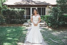 Lace Off Shoulder Mermaid Wedding Dress by Ines Di Santo.  Lyndsey Garber Photography
