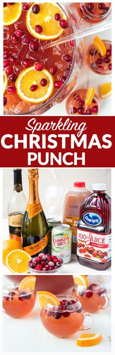 Easy, refreshing, DELICIOUS Sparkling Christmas Punch for a crowd! With champagne, rum, cranberry, and apple cider. Not too sweet, spiked, and so red and festive! Recipe includes nonalcoholic option.