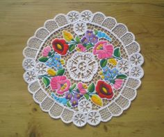 Embroidered richelieu lace from Kalocsa, Hungary :)