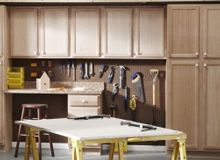 Unfinished in-stock cabinets for laundry room or garage