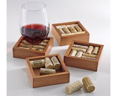 Wine Enthusiast Wine Cork Coasters! Fill them with your own wine corks! Love this idea!