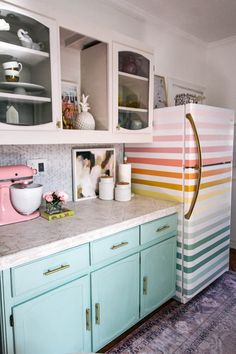 how to paint a rainbow fridge- easy and affordable. How to paint a boring white fridge and ideas for how to paint it fun colors- pink, orange, yellow, green, and blue Estilo Kitsch, Creation Deco, Home Decor Inspiration, House Colors, My Dream Home, Home Kitchens, Kitchen Remodel, Kitchen Dining, Orange Yellow