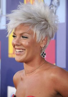 Short grey hair with style!(Note: Pink is not a she is a Short Grey Hair, Short Hair Cuts, Short Hair Styles, Sassy Hair, Edgy Hair, Pink Haircut, Punk Rock Hair, Rock Hairstyles, Short Punk Hairstyles