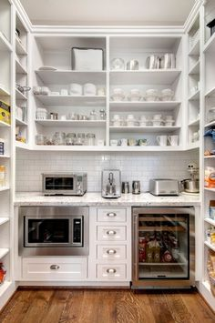 Butler pantry with ugly space-sucker microwave and mini frig. This is pretty similar size to our pantry, too. Home Design, Küchen Design, Design Case, Design Ideas, Interior Design, Rack Design, Storage Design, Kitchen Pantry, New Kitchen