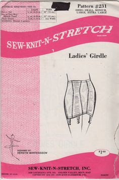Sew Knit N Stretch 231 1970s  Misses  Lingerie Open Bottom Girdle Sewing Pattern by mbchills