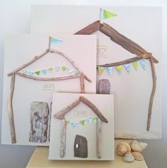 Original driftwood & map bunting Beach Hut. Also available is a driftwood & vintage map sailboat. £24.50