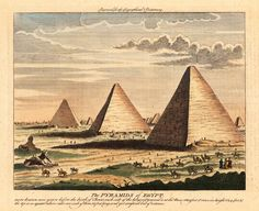 The Pyramids of Egypt, engraving from 1760. Note the 2 sphinxes depicted.