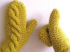 cables and garter stitch mittens