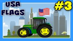 Monster Trucks and Street Vehicles with USA States Names and Flags, Flag For Children #3 by JeannetChannel