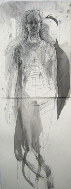 Helfigur, Kol, tusch, krita,150x56cm