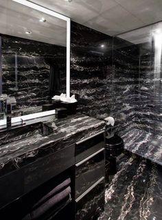 Portoro marble Limestone Tile, Stone Tiles, Public Hotel, Interior Architecture, Interior Design, Stone Bathroom, Tile Installation, Entry Hall, Black Marble