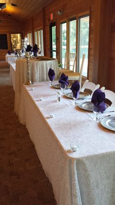 Head table for the bridal party, tall sweetheart table for the Bride and Groom.  At Jester Park Lodge near Granger.  http://www.jesterparklodge.com/Home.html