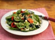 Spinach Salad with Olives, Feta, and Pine Nuts recipe