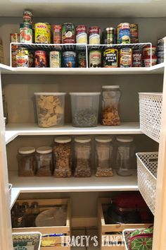 You can see above how tight the space is….but it is so tidy now! No more bags and boxes and sky high stacked cans just waiting to topple over onto the items sitting directly on the floor! - By Tracey's Fancy Pantry Makeover Diamond Furniture, Whimsical Painted Furniture, Pantry Organization, Organized Pantry, Basket Drawers, Pantry Makeover, Metal Baskets, Kitchen Pantry, Sky High