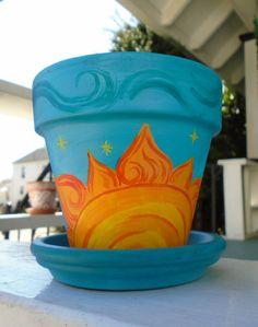 Painted Plant Pots, Painted Flower Pots, Flower Pot Art, Decorated Flower Pots, Pottery Painting Designs, Clay Pot Crafts, Diy Canvas Art, Mason Jar Crafts, Clay Pots