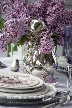wisteria lilac silver bird silver teapot lavender transferware tablescape
