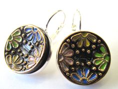 Vintage glass 2-hole button earrings, black glass with multi-color painted flowers