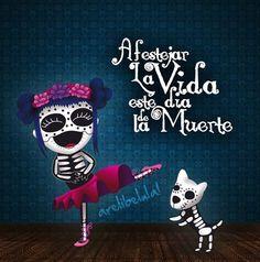 Dia de muertos.. Halloween, Aztec Culture, Mexican Holiday, Day Of The Dead Art, Sugar Skull Art, Sugar Skulls, Skulls And Roses, Cat Design, Book Of Life