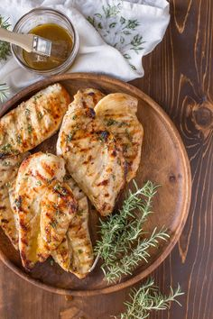 Honey Mustard Grilled Chicken - Perfectly grilled marinated chicken with a sweet, buttery, tangy sauce. Quick and easy!