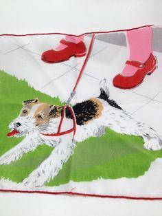 Vintage hankie with Jack Russel Terrier on Etsy, $17.00