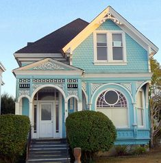 "Victorian style - What existing are turquoise, I will paint ""bodied yellow"" and areas that now are white, darker golden yellow. Windows and doors should be painted ""English"" dark Victorian Cottage, Victorian Homes, Villa, Second Empire, Victorian Architecture, Victorian Buildings, Cozy Cottage, Historic Homes, Little Houses"