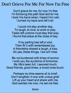 A wonderful addition to a eulogy...