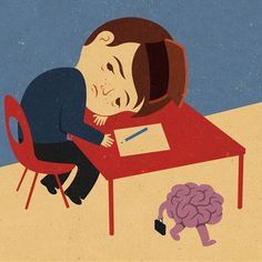 Tiredness at school can cause lack of concentration - Editorial Illustration by John Holcroft