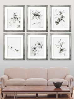 TROWBRIDGE - Elizabeth Ockford Florals in mirrored frames series of 4 across main wall