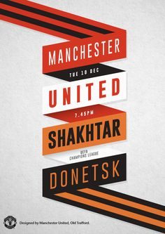 MUFC vs Shakhtar Donetsk at Old Trafford in a battle for top spot in the Champions League Group A. Sports Graphic Design, Graphic Design Projects, Graphic Design Posters, Graphic Design Inspiration, Manchester United, Soccer Poster, Football Posters, Soccer Inspiration, Pop Art Design