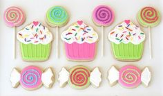 Kids will love this candy party with cookies sucker topped cupcakes, cute candy wrapped cookies, cupcake topped cake, sucker lawn decor & more! Lollipop Cookies, Cookies Cupcake, Candy Cookies, Cute Cookies, Cupcake Party, Royal Icing Cookies, Birthday Cookies, Sugar Cookies, Decorated Cookies