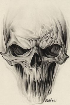 Alien Skull Tattoo Design