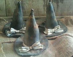 3 primitive grungy witch hat ornies sitters halloween handmade
