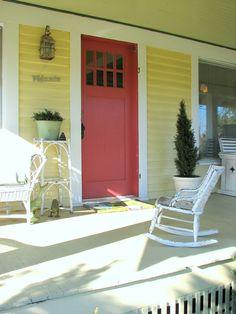 a slightly pink front door
