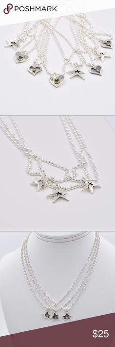 """Sterling Silver Star Pendant Necklace Sterling Silver Ball Chain Necklace that is 16"""" in length and fastens with a spring ring closure.  A Sterling Silver Star Pendant hangs from the Chain. Jewelry Necklaces"""