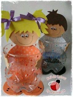 Niño y niña de goma eva - kommetje voor iets lekkers van plastic flessen Kids Crafts, Foam Crafts, Diy And Crafts, Craft Projects, Arts And Crafts, Paper Crafts, Plastic Bottle Crafts, Recycle Plastic Bottles, Art N Craft