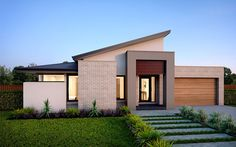 Beyond the facade of Botanica home is the contemporary & spacious interior retreat. Step inside homes of style, inspiration and beautiful design! Modern House Facades, Modern House Plans, Modern House Design, Modern Architecture, House Roof, Facade House, Modern Exterior, Exterior Design, Morden House