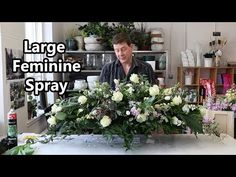 How To Make A Large Spring Double Ended Spray Using Feminine Flowers In this video we show another version of a spray arrangement, but this time using beauti. Funeral Floral Arrangements, Large Floral Arrangements, Church Flowers, Funeral Flowers, Casket Flowers, Funeral Sprays, Casket Sprays, Memorial Flowers, Cemetery Flowers