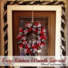 Easy Tutorials – Ribbon Wreath ~EASY TUTORIALS~ December is already here and that means Christmas is right around the corner… Today I want to share a super easy ribbon wreath tutorial th . Ribbon Wreath Tutorial, Ribbon Wreaths, Christmas Mesh Wreaths, Tulle Wreath, Diy Ribbon, Deco Mesh Wreaths, Door Wreaths, Winter Wreaths, Floral Wreaths