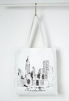 Manhattan Graphic Shopper Tote | Forever 21 - 1000145887
