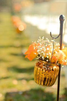 Outdoor Wedding Ceremony  #flowers