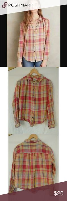 """Anthropologie Holding Horses plaid cotton shirt Excellent used condition. Gauzey cotton materisl. Bust 20"""" length 23"""" sleeves 21"""" Anthropologie Tops Button Down Shirts"""