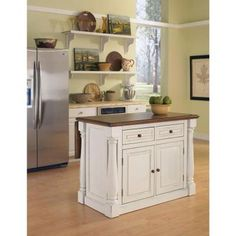Home Styles Monarch Distressed Oak Drop Leaf Kitchen Island In  White 5020 94   The Home Depot