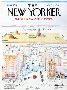 """A New Yorker's view of the world. [[MORE]] TMWNN: """" By Saul Steinberg, """"View of the World from Avenue"""" is probably the most famous cover of The New Yorker magazine in its history, immortalized on. The New Yorker, New Yorker Covers, Saul Steinberg, Apple Maps, New Yorker Cartoons, Capas New Yorker, Magazine Cover Design, Magazine Covers, Cool Magazine"""